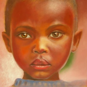 (CreativeWork) African girl with brown eyes by Jamie Brown. oil-painting. Shop online at Bluethumb.