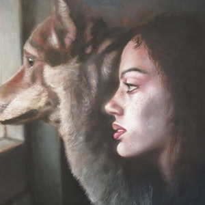 (CreativeWork) Dreaming of the hunt by Jamie Brown. oil-painting. Shop online at Bluethumb.
