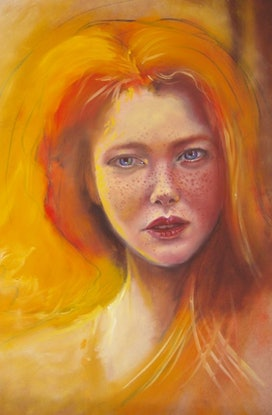 (CreativeWork) Red Head by Jamie Brown. Oil. Shop online at Bluethumb.