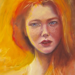 (CreativeWork) Red Head by Jamie Brown. oil-painting. Shop online at Bluethumb.