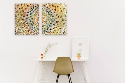 (CreativeWork) Fireworks by Hayley SHAW. arcylic-painting. Shop online at Bluethumb.