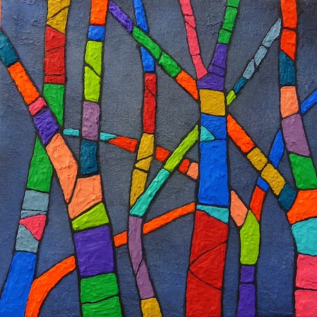 (CreativeWork) Play in the sun by Maggie Cecchin. Acrylic Paint. Shop online at Bluethumb.