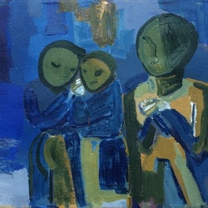 (CreativeWork) Mourners and Victims by Sharon Monagle. arcylic-painting. Shop online at Bluethumb.