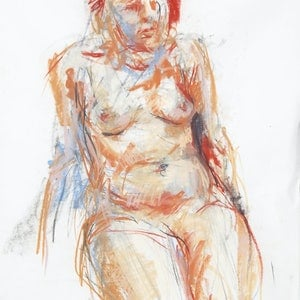 (CreativeWork) 15 min Life Drawing - Female Nude  by Nina Smart. drawing. Shop online at Bluethumb.