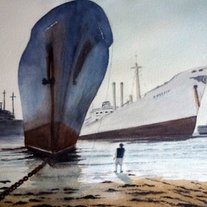 (CreativeWork) Journey's End by Tim Baker. watercolour. Shop online at Bluethumb.