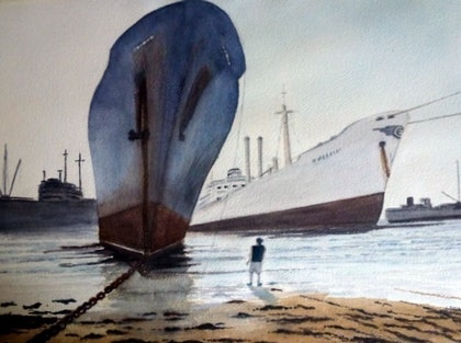(CreativeWork) Journey's End by Tim Baker. Watercolour Paint. Shop online at Bluethumb.