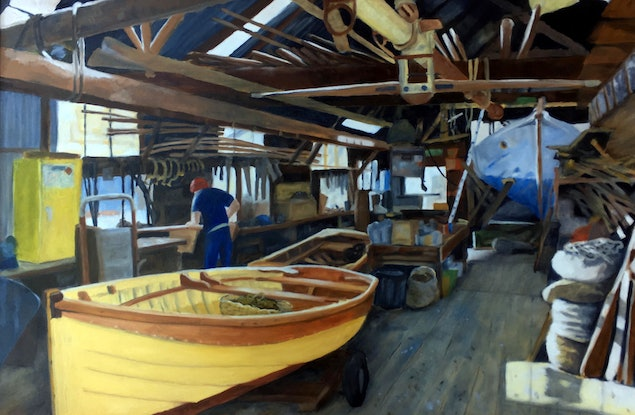(CreativeWork) Blunt's Boat shed interior, Williamstown by John Barcham. Oil Paint. Shop online at Bluethumb.