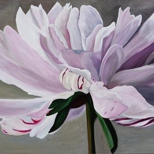 (CreativeWork) Drama Queen Peony by Julie Schofield. arcylic-painting. Shop online at Bluethumb.