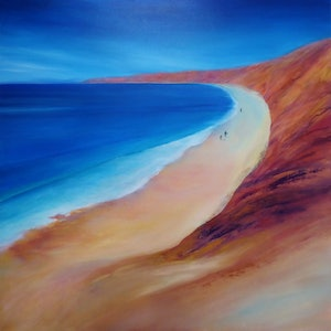 (CreativeWork) Red Ochre and Moody Blues by Clare Riddington Jones. arcylic-painting. Shop online at Bluethumb.