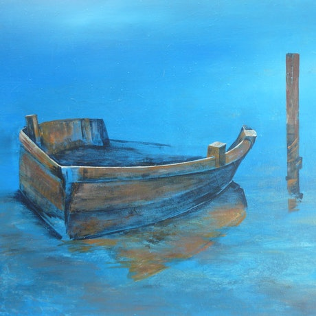 (CreativeWork) All Alone and Blue by Tricia Bradford. Acrylic Paint. Shop online at Bluethumb.