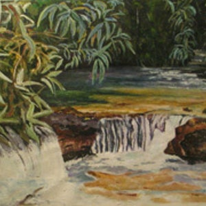 (CreativeWork) NT waterfall by Andrew BARR. arcylic-painting. Shop online at Bluethumb.