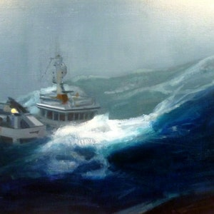 (CreativeWork) Oh to be in ye little boat by Claude Ciccone. oil-painting. Shop online at Bluethumb.