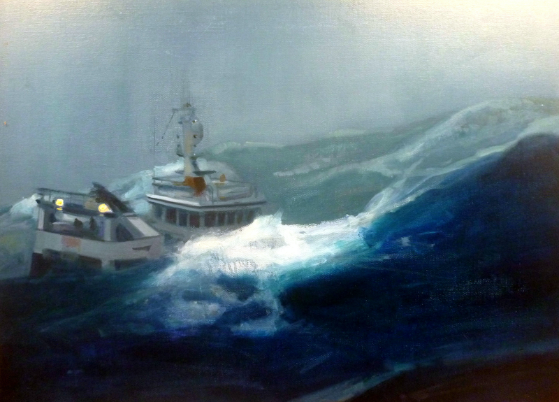 (CreativeWork) Oh to be in ye little boat by Claude Ciccone. Oil Paint. Shop online at Bluethumb.