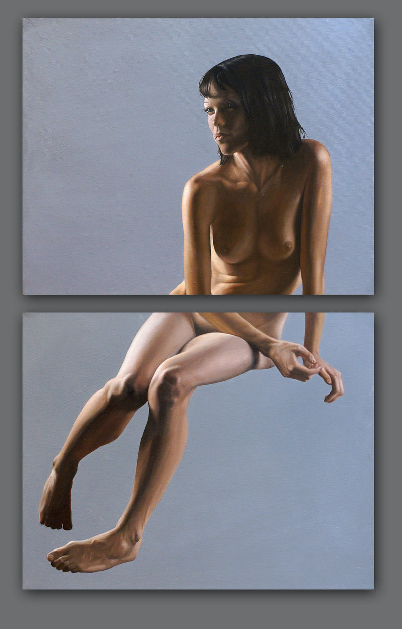 (CreativeWork) A Destra (diptych) by Daevid Anderson. oil-painting. Shop online at Bluethumb.