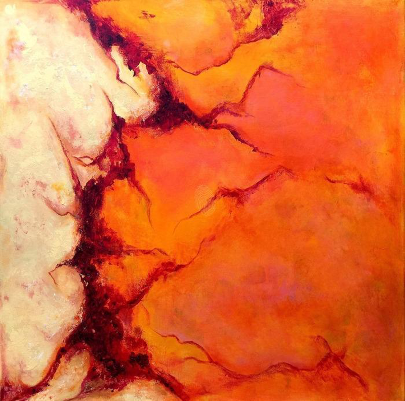 (CreativeWork) Lava by Kat Las. arcylic-painting. Shop online at Bluethumb.