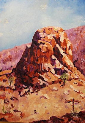 (CreativeWork) Arkaroola  pinnacle by Andrew BARR. Oil Paint. Shop online at Bluethumb.
