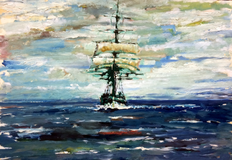 (CreativeWork) 1900's Coastal Trader Passes Phillip Island by Philip David. Oil Paint. Shop online at Bluethumb.