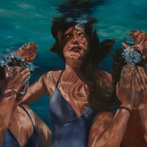 (CreativeWork) See, Hear, Speak No Evil Submerged by Mia Laing. oil-painting. Shop online at Bluethumb.