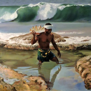 (CreativeWork) The Shell Seeker by Rob Davis. oil-painting. Shop online at Bluethumb.
