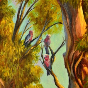 (CreativeWork) In the shade of the gum tree by Christopher Vidal. oil-painting. Shop online at Bluethumb.