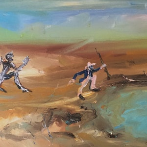 (CreativeWork) Turrbal Chase by Rodney Cassidy. arcylic-painting. Shop online at Bluethumb.