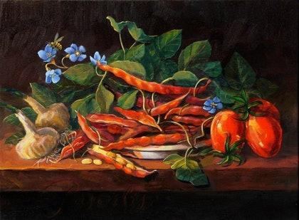 (CreativeWork) Impressionism-Still-Life (honey bee).  by George Pascalis. oil-painting. Shop online at Bluethumb.