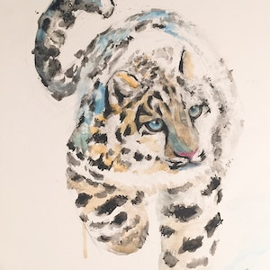 (CreativeWork)  A Cute leopard  by Duillia Xu. mixed-media. Shop online at Bluethumb.