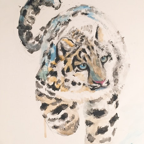 (CreativeWork)  A Cute leopard  by Duillia Xu. Mixed Media. Shop online at Bluethumb.