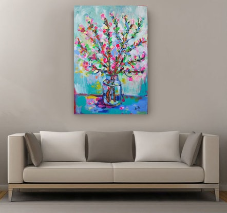 (CreativeWork) Cherry Blossom by Katerina Apale. Acrylic Paint. Shop online at Bluethumb.
