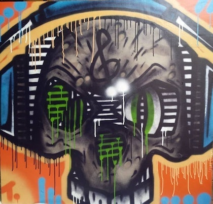 (CreativeWork) skull music by T Dot. oil-painting. Shop online at Bluethumb.