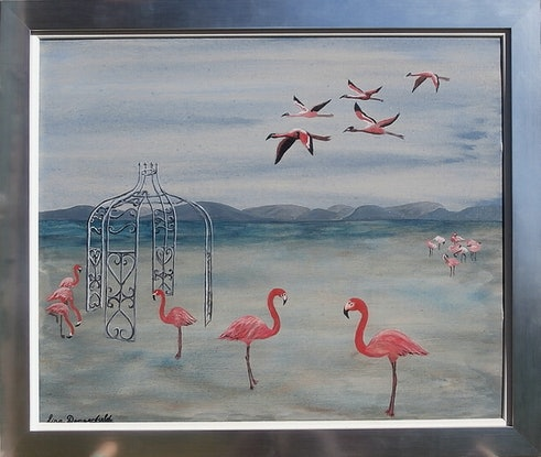(CreativeWork) Flamingo Folly by Lisa Dangerfield. Acrylic Paint. Shop online at Bluethumb.