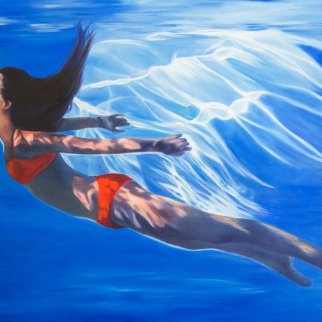(CreativeWork) Blue Ray - original oilpainting underwater female  by Mia Laing. Oil Paint. Shop online at Bluethumb.