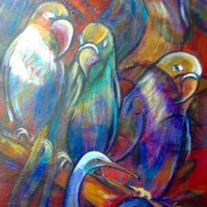 (CreativeWork) We  Flock  Together by Bev Miller. arcylic-painting. Shop online at Bluethumb.