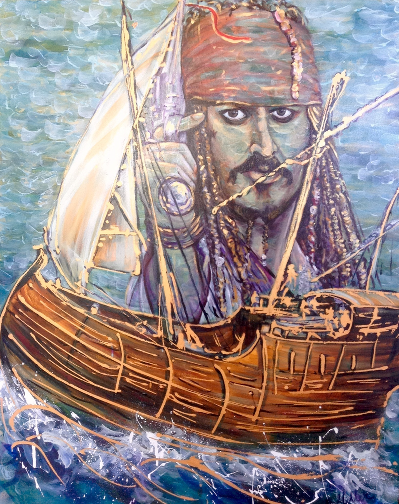 (CreativeWork) Pirates of the Carribean by Bev Miller. arcylic-painting. Shop online at Bluethumb.