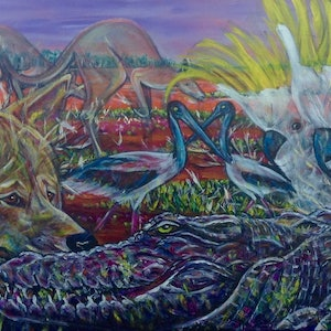 (CreativeWork) Kakadu by Bev Miller. arcylic-painting. Shop online at Bluethumb.