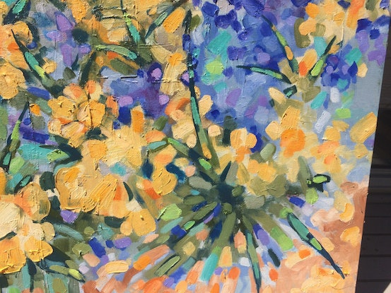 (CreativeWork) The winter garden  by sue bannister. Oil Paint. Shop online at Bluethumb.