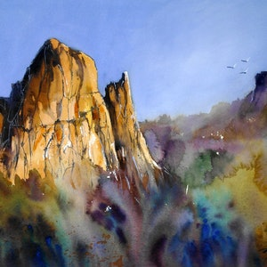 (CreativeWork) CATHEDRAL ROCK NSW by Anki Wickison. watercolour. Shop online at Bluethumb.
