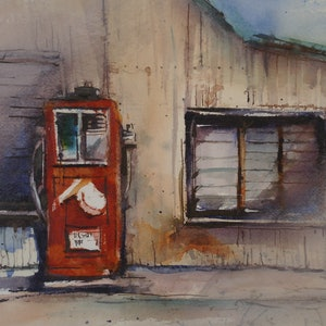 (CreativeWork) THE  OLD PETROL PUMP by Anki Wickison. mixed-media. Shop online at Bluethumb.
