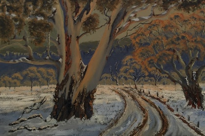 (CreativeWork) Capertee Valley Afternoon Light Snowy Gums/Blue Mountains Landscape  by Kit McNeill. oil-painting. Shop online at Bluethumb.