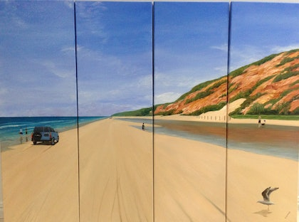 (CreativeWork) Coloured sands of Rainbow Beach by Kylie Genrich. arcylic-painting. Shop online at Bluethumb.