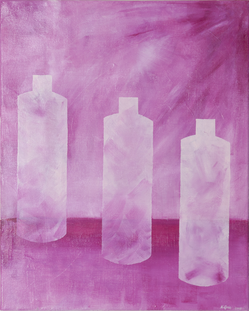 (CreativeWork) Pink Bottles by Natalie Spain. Acrylic Paint. Shop online at Bluethumb.