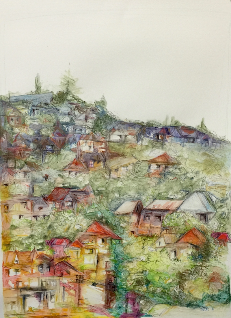 (CreativeWork) Teneriffe Hill by Jodi Bowen. mixed-media. Shop online at Bluethumb.