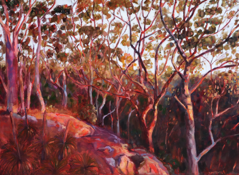 (CreativeWork) Evening Light 3 by Kate Gradwell. oil-painting. Shop online at Bluethumb.