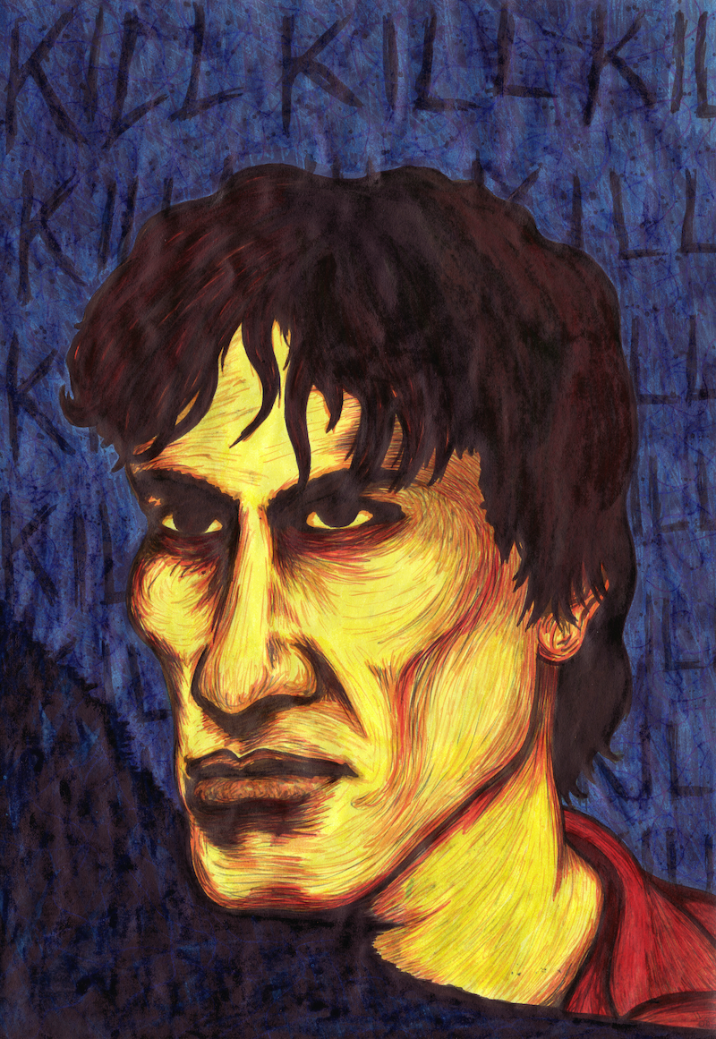 (CreativeWork) The Night Stalker Is Supposed To Look Evil by Jolon Larter. arcylic-painting. Shop online at Bluethumb.