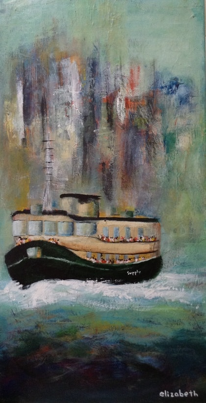 (CreativeWork) The Ferry by Beth Meikle. arcylic-painting. Shop online at Bluethumb.