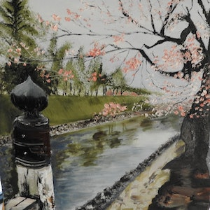 (CreativeWork) CHERRY BLOSSOMS IN JAPAN by GLENN SPECK. oil-painting. Shop online at Bluethumb.