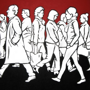 (CreativeWork) Pedestrians 1 by Jacqueline Briner. arcylic-painting. Shop online at Bluethumb.