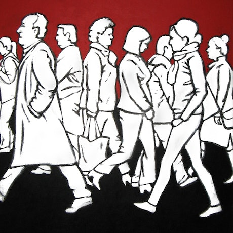(CreativeWork) Pedestrians 1 by Jacqueline Briner. Acrylic Paint. Shop online at Bluethumb.