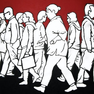 (CreativeWork) Pedestrians 2 by Jacqueline Briner. arcylic-painting. Shop online at Bluethumb.