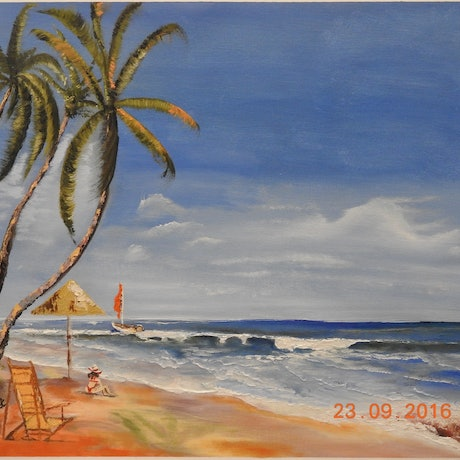 (CreativeWork) COLVA BEACH,GOA, INDIA by GLENN SPECK. Oil Paint. Shop online at Bluethumb.